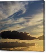 Majestic Vivid Sunset  Over Dark Mountains Canvas Print
