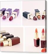 Makeup Set Of Lipsticks Isolated Canvas Print