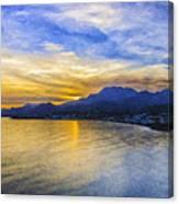 Makrygialos Sunset Digital Painting Canvas Print