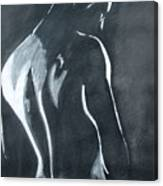 Male Nude Black And Grey Canvas Print