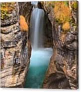 Maligne Canyon Falls Vertical Panorama Canvas Print