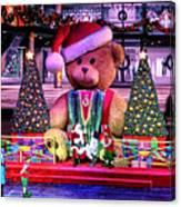 Mall Santa With Child Canvas Print