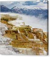 Mammoth Hot Springs In Yellowstone National Park, Wyoming. Canvas Print