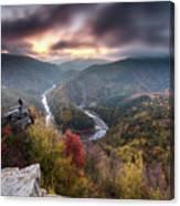 Man Above A River Meander Canvas Print