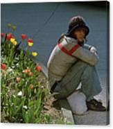 Man Alone Sitting On Curb Canvas Print