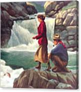Man And Woman Fishing Canvas Print