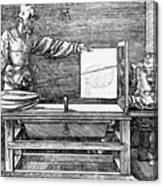 Man Drawing A Lute 1523 Canvas Print