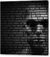 Man Face Blended With Flowing List Of Motivational Words Canvas Print