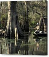 Man Fishing In Cypress Swamp Canvas Print