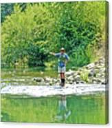 Man Fly Fishing In Canyon Creek Near Winters-california Canvas Print