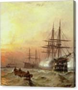 Man-o-war Firing A Salute At Sunset Canvas Print