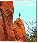 Man On A Rock By Pine Tree Arch Along Devil's Garden Trail In Arches  National Park, Utah Canvas Print
