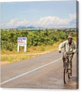 Man On Bicycle In Zambia Canvas Print