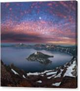 Man On Hilltop Viewing Crater Lake With Full Moon Canvas Print