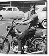 Man Riding A Motorcycle Canvas Print