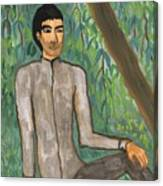 Man Sitting Under Willow Tree Canvas Print
