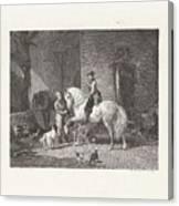 Man Te Paard In Een Stal Canvas Print
