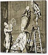 Man Using Sextant On Womans Coiffure Canvas Print
