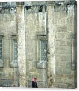 Man Walking Between Columns At The Roman Theatre Canvas Print