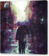 Man Walking Under Umbrella Canvas Print