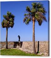 Man With A Hat On The Wall With Palm Trees In Saint Augustine Fl Canvas Print