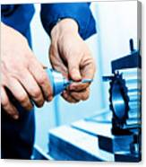 Man Working On Drilling And Boring Machine Canvas Print