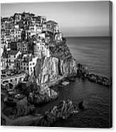 Manarola Dusk Cinque Terre Italy Bw Canvas Print