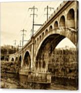 Manayunk Bridge Across The Schuylkill River In Sepia Canvas Print