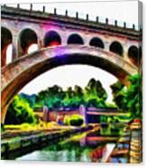 Manayunk Canal And Bridge Canvas Print