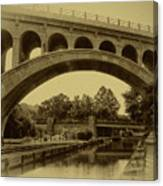 Manayunk Canal In Sepia Canvas Print