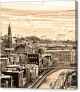 Manayunk In March - Canal View In Sepia Canvas Print