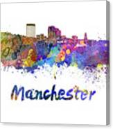 Manchester Nh Skyline In Watercolor Canvas Print