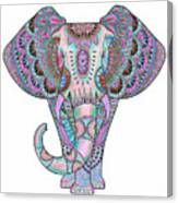 Mandala Elephant Indigo Canvas Print