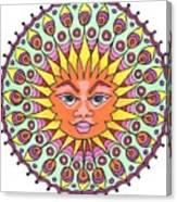 Peacock Sunburst Canvas Print