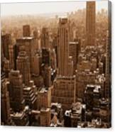 Manhattan Aerial Sepia Canvas Print