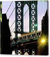Manhattan Bridge And Empire State Building Canvas Print