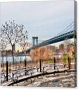 Manhattan Bridge From Brooklyn Bridge Park Canvas Print