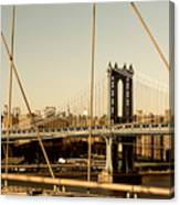 Manhattan Bridge From The Brooklyn Bridge  Canvas Print