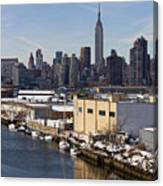 Manhattan From Greenpoint In Winter Canvas Print