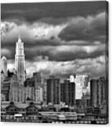 Manhattan Nyc Storm Clouds Cityview Canvas Print