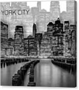 Manhattan Skyline - Graphic Art - White Canvas Print