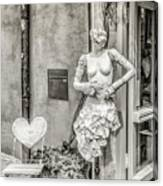 Mannequin On The Street Bw Canvas Print