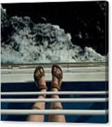 Mans Feet In Sandals Standing Canvas Print