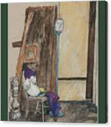 Man's Head On A Stick Canvas Print