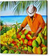 Manuel The Fruit Vendor At The Beach Canvas Print