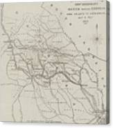Map Illustrating General Sherman's March Through Georgia  Canvas Print