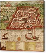 Map Of Algiers 1541 Canvas Print