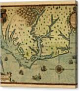 Map Of America 1590 Canvas Print