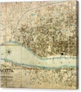Map Of Calcutta 1857 Canvas Print