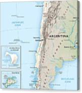 Map Of Chile 2  Canvas Print